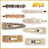 Offer for Pearl Crystal Hair Clips for Women Girls 8 Pcs, Artificial Pearl Alligator Clips Hair Barrettes Decorative Hair Pins Snap Clips, Hair Accessories for Party Wedding Daily Birthday Gifts