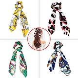 Offer for 4 Pack Hair Scarf Silk Bowknot Scrunchies,Maswater Colorful Hair Scrunchies Elastic Hair Bands Hair Ties Rope Ponytail Holder Hair Accessories for Women Girls