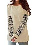 Offer for ZANZEA Women Casual Print Long Sleeve Round Neck Loose Basic Plain Tops Blouse T-Shirt Pullover Beige S