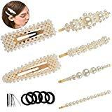 Offer for YaFex Pearl Hair Clips for Women Girls, Fashion Sweet Decorative Artificial Pearl Hairpins Barrettes for Party Wedding Daily, Golden