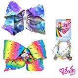 Offer for Jojo Siwa Girl's Bow Set 2 Bows and 3 Pack of Bracelets - Rainbow Sprinkles Cupcake Keeper, Purple Tye Dye