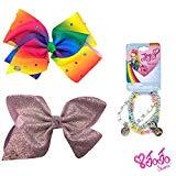 Offer for Jojo Siwa Girl's Bow Set 2 Bows and 3 Pack of Bracelets - Rainbow with Rhinestones, Rose Gold Glitter