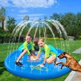 Offer for AMASKY Splash Pad- 68 inches Splash Mat, Outdoor Water Play Sprinklers Summer Toys Fun for Infants Toddlers and Kids in Backyard Playing (Blue)