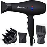 Offer for Basuwell 1875W Hair Dryer, Professional Ionic Salon Hair Blow Dryer for Faster Drying, 2 Speed 3 Heat Cool Shot Setting AC Motor Blow Dryer with Diffuser, Concentrator, Comb (black)