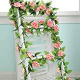 Offer for Artificial Rose Flowers Vines Pink Fake Flowers Garland for Home Garden Wedding Party Decor Silk Flower 5pcs