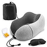 Offer for SYOSIN Travel Pillow 100% Pure Memory Foam, Super Soft Comfortable Pillow with Machine Washable Cover + 3D Eye Masks,Earplugs and Storage Bag, for Working,Driving,Travel,Home Life and More