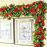 Offer for Alrens Flower Vines Rose Artificial Flower Garland Silk Flower Hanging Flower for Home Hotel Wedding Garden Decorration Red 5pcs