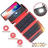 Offer for Soluser Portable Power Bank Wireless Solar Charger 20,000mAh High Capacity External Battery Backup with 3 Solar Panels Emergency LED Flashlight Dual 5V/2.1A USB Ports for Smartphones