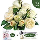 Offer for 15 Heads Artificial Flower Bouquet, Includes 9 heads Rose + 4 heads peony, Artificial Silk Flowers With 2 Satin Ribbon + 1 Greeting Card For Home Office Wedding Party Decoration And Festival Gift