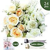 Offer for SnailGarden 24 Heads Fake Rose Flower, 2 Pack/Colors Artificial Flowers With 2 Satin Ribbon+1 Greeting Card ,Perfect For Home ,Office ,Wedding And Events Decoration Even Well Gifting(White/Champagne)