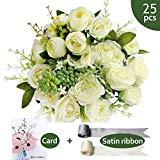 Offer for SnailGarden 25 Pcs Artificial Flowers Bouquet, Artificial Silk 12 Heads Rose+10 Heads Peony +3 Heads Succulent with Satin Ribbon and Greeting Card for Home Office Wedding Party Decoration