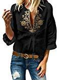 Offer for Dearlove Women's Tribal Printed V Neck Frill Sleeve Loose Blouse Black Medium
