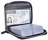 Offer for Yuhan Pretty Credit Card Holder Wallet Large Leather Passport Case 42 Card Slots (Carbon Fiber Leather - Black)