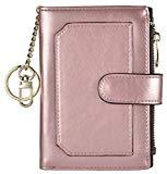 Offer for Womens Wallets RFID Small Compact Bifold Leather Card Holder Zip Pocket Keychain (Rose Gold/Coffee)