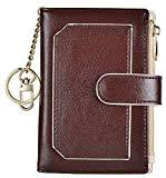 Offer for Womens Wallets RFID Small Compact Bifold Leather Card Holder Zip Pocket Keychain (Coffee/Beige)