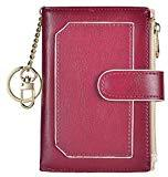 Offer for Womens Wallets RFID Small Compact Bifold Leather Card Holder Zip Pocket Keychain (Purple/Beige)