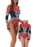 Offer for YOLIPULI Mother and Daughter Swimwear Family Matching Swimsuit Womens Rashguard Girls Swimwear Red Floral Print Girl 10-12 Years Old