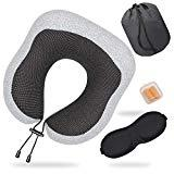 Offer for YUEMIDAMY Foam Comfortably Neck Support Pillow 100% Pure Memory Foam U Shaped Neck Pillow Travel Pillow for Working,Driving,Travel,Home Life and More,with 3D Eye Masks,Earplugs and Storage Bag