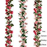 Offer for BSTC 69 Heads Artificial Flowers, Fake Silk Rose Flowers Vine Garland Plants for Decoration Wedding Birthday Party, Pink & Rose Red Rose Plastic Ivy Hanging Flowers Wall Decor |2pcs