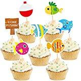 Offer for Gone Fishing Cupcake Topper Fisherman Birthday Cake Decoration for Kids 49pcs
