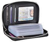Offer for Yeeasy Credit Card Wallet Holder Zip Bifold Wallet Genuine Leather 25 Card Slots (Carbon Fiber Leather Black)