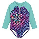 Offer for uideazone Gift for Infant Girls Long Sleeve Swimwear Toddler Kids Mermaid Fish Scale One Piece Zipper Swimsuit Beach Bathing Suit Swimming Beachwear 2-3T