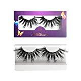 Offer for Newcally 20mm Mink Lashes 3D Mink False Eyelashes Dramatic Long Thick Cross False Lashes 1 Pair Pack