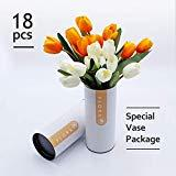 Offer for 18 Heads Artificial Tulips, 2 Pack Color Matching Silk Tulip Flowers with Special Vase Package for Best Arranging for Living Home, Office, Halloween Party and Wedding Decoration (White/Yellow)