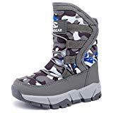 Offer for KIIU Kids Snow Boots Toddler Boys Outdoor Winter Warm Shoes Slip Resistant (Grey, 6.5 Toddler)