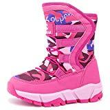 Offer for KIIU Kids Snow Boots Toddler Girls Outdoor Winter Warm Shoes Slip Resistant (Pink, 13 Little Kid)