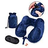 Offer for Rosoz Inflatable Travel Neck Pillow, Portable Soft Velvet Neck Support Pillows for Airplane Car and Home,Washable Cover U-Shape Pillow with Eye Mask,Earplugs and Pack Sack(Navy Blue)
