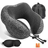 Offer for FERTOY Travel Pillow Memory Foam Travel Pillow Neck Pillow for Traveling, Comfortable & Portable Airplane Pillow Kits with Machine Washable Cover, 3D Contoured Eye Masks, Earplugs and Travel Bag