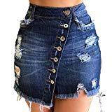 Offer for ECHOINE Women Denim Short Skirt - Button Front A-Line Casual Distressed Fray Jean Mini Skirts Dark Blue L