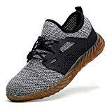Offer for JACKSHIBO Work Indestructible Shoes for Women Men Mesh Breathable Lightweight Safety Industrial Construction Steel Toe Shoes 825 Grey 9.5 M US Women / 8 M US Men