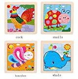 Offer for Kids Toy Wood Puzzle Wooden 4 Sheets Jigsaw for Children Baby Cartoon Animal and Traffic Puzzles Educational Wooden 9 Piece Small Creative Puzzle Toy