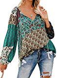 Offer for NUOREEL Women's Boho Tops Floral Print Casual Ruched Shirts V Neck Long Sleeves Loose Blouses (Green, (US 12-14) Large)