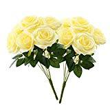 Offer for Aviviho Artificial Flowers Pale Yellow Roses with Stems Pack of 2 Fake Silk Roses Bouquets for Wedding Bouquets Centerpieces Arrangements Home Decoration