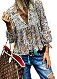 Offer for NUOREEL Women's Boho Tops Floral Print Casual Ruched Shirts V Neck Long Sleeves Loose Blouses (P-Orange, (US 12-14) Large)