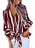 Offer for VLRSY Women's Striped V Neck 3/4 Bell Sleeve Front Tie Knot Blouse Loose T Shirts Casual Tops Red