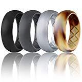 Offer for Egnaro Silicone Wedding Ring for Men, Breathable Mens' Rubber Wedding Bands