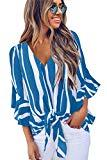 Offer for VLRSY Women's Striped V Neck 3/4 Bell Sleeve Front Tie Knot Blouse Loose T Shirts Casual Tops SkyBlue