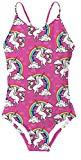 Offer for Goodstoworld Girls One Piece Unicorn Swimsuit Toddler Surfing Causal Fashion Rainbow Pattern Red Bathing Suits for Girls Pool Swimwear Swimsuits One Piece 9-10 Years Old