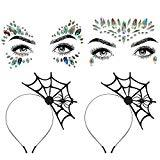 Offer for Aniwon 2PCS Halloween Spider Web Headband+2 PCS Rhinestone Face Jewels, Spider Headband Halloween Party Headband�Hair Hoop with Mermaid Face Gems Glitter for Women Halloween Cosplay Party Costume