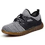 Offer for SUADEX Steel Toe Shoes for Women Men, Anti Slip Safety Shoes Breathable Lightweight Puncture Proof Work Construction Sneakers Grey A Size 13 Women / 11.5 Men