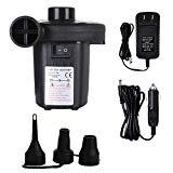 Offer for Electric Air Pump for Inflatables, Quick-Fill Inflator & 3 Nozzles Adapters, Dual Powered Car DC12V & Home AC100-240V Portable Inflates/Deflates Pump, Best for Camping Swimming (Not Rechargeable)