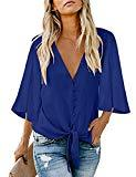 Offer for MEROKEETY Women's V Neck Button Down 3/4 Bell Sleeve Chiffon Shirt Tie Knot Casual Blouse Tops
