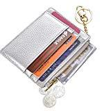 Offer for Womens Slim RFID Credit Card Holder Mini Front Pocket Wallet Coin Purse Keychain (LicheeSilver)
