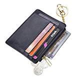 Offer for Womens Slim RFID Credit Card Holder Mini Front Pocket Wallet Coin Purse Keychain (CrazyHorse Navyblue)