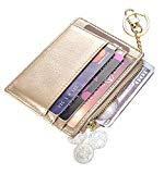 Offer for Womens Slim RFID Credit Card Holder Mini Front Pocket Wallet Coin Purse Keychain (OilGold)