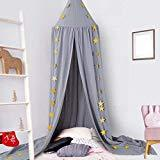 Offer for Ceekii Kids Bed Canopy Dome Hook Cotton Mosquito Nets Children's Room Bedroom Games Reading Tent Nursery Play Room Decor (Gray)
